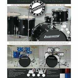 Ludwig LC175 Accent Drive 5-Piece Complete Drum Set with Cymbals & More, Blue
