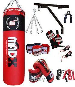 MADX 13 Piece 4ft Boxing Set Filled Heavy Punch Bag Gloves, Chain, Bracket, Kickbag