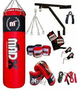 MADX 15 Piece Boxing Set 4ft Filled Heavy Punch Bag Gloves, Chains, Bracket, Kick