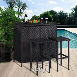 MCombo Patio Bar Set, Wicker Outdoor Table and 2 Stools, 3 Piece Furniture 1201BK