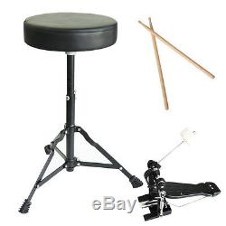 MENDINI BLACK 5 PIECE COMPLETE ADULT DRUM SET POPLAR SHELL With CYMBAL & HARDWARE