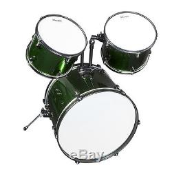 MENDINI GREEN 5 PIECE COMPLETE ADULT DRUM SET POPLAR SHELL With CYMBAL & HARDWARE