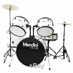 MENDINI WHITE 5 PIECE COMPLETE ADULT DRUM SET POPLAR SHELL With CYMBAL & HARDWARE