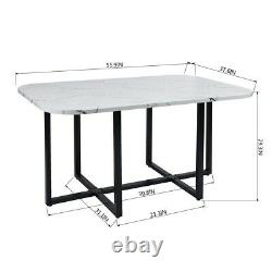 Marble 7 Piece Dining Table Set 6 Leather Chairs Kitchen Room Breakfast Dinner