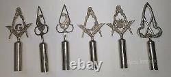 Masonic Regalia Pole Topper, BLUE LODGE RODS & TOPS Silver Set of 6 pieces