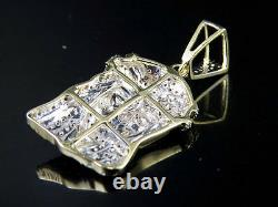 Men's 10k Yellow Gold Jesus Piece Genuine Diamond Charm Pendant Chain Set. 40CT
