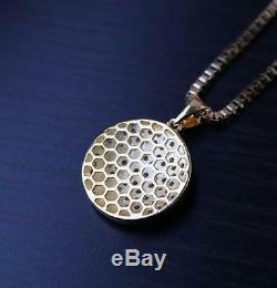 Men's Mini Gold Jesus Piece Hip Hop Iced Cz Three Cross Pendant Necklace Set