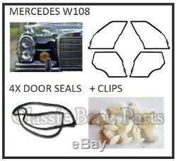 Mercedes W108 Door Weathership Rubber Gasket Seals 4 Pieces set including clips