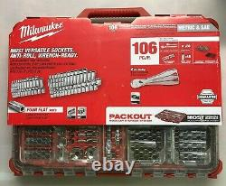 Milwaukee 48-22-9486 Packout SAE + Metric 106 piece 3/8 Ratchet + Socket set NEW