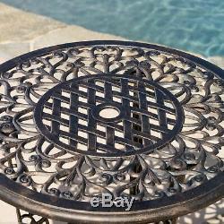 Modena Traditional Outdoor 3-Piece Bronze Cast Aluminum Bistro Set
