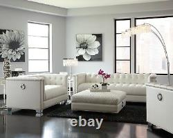 Modern 3-Piece Faux Leather Sofa Set with Couch & Loveseat & Ottoman, White