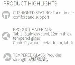 Modern 6-Piece Dining Set Tempered Glass Polished Stainless Steel Gray Velvet