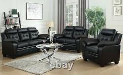 Modern Casual 3-Piece Faux Leather Sofa Set with Couch Loveseat & Chair, Black