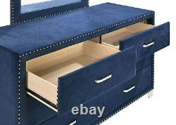 Modern Glam 5-Piece Queen Bedroom Set Bed Nightstand Dresser Chest, Blue Velvet
