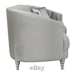 Modern Glam Living Room 2-Piece Sofa Loveseat Couch Set Silver Velvet