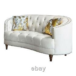 Modern Glam Living Room 2-Piece Sofa Set Couch & Loveseat, Off White Velvet