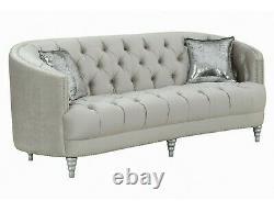 Modern Glam Living Room 3-Piece Sofa Loveseat Chair Couch Set Silver Velvet