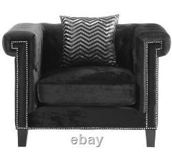 Modern Hollywood Glam Tufted 3-Piece Sofa Loveseat Chair Set Black Velvet