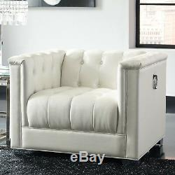 Modern Living Room 3-Piece Faux Leather Sofa Set Couch Loveseat & Chair, White