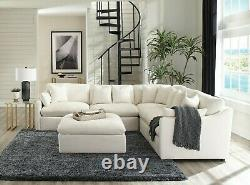 Modern Low Profile 6-Piece Modular Sectional Sofa Set with Ottoman, Off White