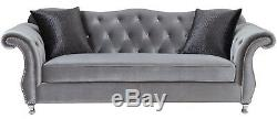 Modern Luxe Glam Living Room 3 Piece Sofa Loveseat Chair Couch Set Silver Velvet