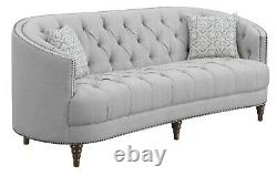 Modern Traditional Living Room 3-Piece Sofa Set Couch Loveseat & Chair, Grey