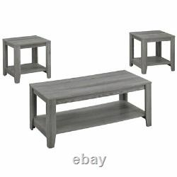 Monarch 3 Piece Coffee Table Set in Gray