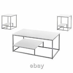 Monarch 3 Piece Coffee Table Set in White and Silver
