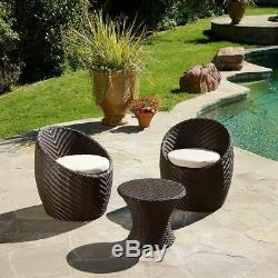 Morocco Outdoor 3-Piece Brown Wicker Egg Shape Chat Set with Cushions