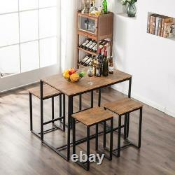 NEW 5 Piece Wood Dining Table Set with 4 Chairs Breakfast Kitchen Furniture US