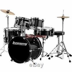 NEW LUDWIG LJR106 BLACK CHILD SIZE 5-PIECE COMPLETE JUNIOR DRUM SET With CYMBALS