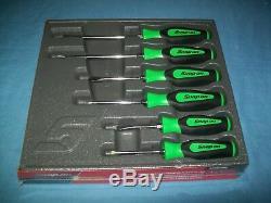 NEW Snap-on Instinct Green Soft Handled 6-piece Screwdriver SET SGDX60BG