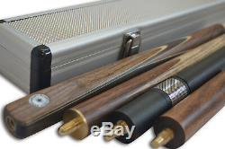 New 3/4 piece Handmade Ash Snooker/Pool Cue set With Case Extension Rosewood, TSC7