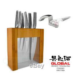 New GLOBAL 7 Piece IKASU & Mino SHARPENER Knife Block Set 7pc