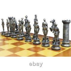 New Medieval Knight Chess Set / Pewter Pieces