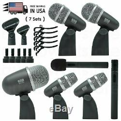 New Professional Wired Microphone Mic Kit for Drum Set 7 Pieces with Mounting Kit