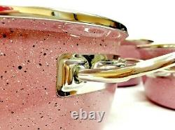 Non-Stick Cookware Set Sauce Pans With Glass Lid 10 Pieces, Pink, Made In Turkey