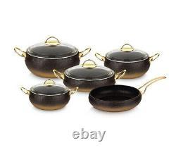 OMS Cookware 9 Piece Non Stick Granite Copper Set Glass Lids Casserole Pan Pot