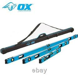 OX Tools P028603 Pro Spirit 3 Piece Level Set with Case 600mm, 1200mm & 1800mm