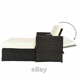 Outdoor 3 Piece Chaise Lounge Chair Set Rattan Wicker Patio Love Seat