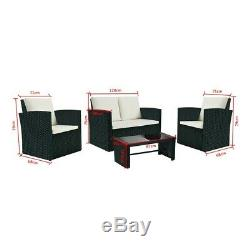Outdoor 4 pieces Rattan Set Garden Furniture Patio Sofa Table Chairs Cushions