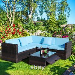 Outdoor Patio Rattan Wicker Sofa Set 4-Piece Sectional Sofa Couch Yard Garden