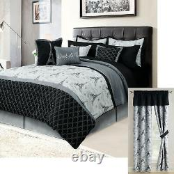 Paris Queen or King Bedding Bed in a Bag 12 Piece Set Eiffel Tower Black, Gray