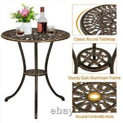 Patio Bistro Furniture Set Outdoor Garden Table Set with Umbrella Hole, 3 Piece