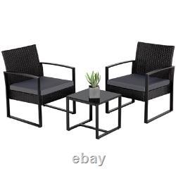 Patio Bistro Set 3 Pieces Outdoor Wicker Chair Patio Rattan Furniture Wicker New