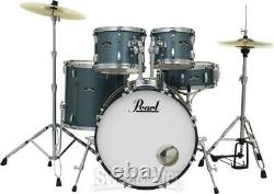 Pearl Roadshow 5-piece Complete Drum Set with Cymbals 22 Kick Aqua Blue