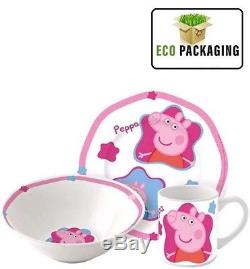 Peppa Pig Ceramic 3 Piece Children's Breakfast Set Plate, Bowl, Cup Pink