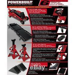 Powerbuilt 6 Piece Car Service Set, Floor Jack, Jack Stands, Creeper, 640816