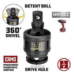 Powerbuilt 63 Piece Pro Tech 1/2-Inch Drive Master Impact Socket Set 949012
