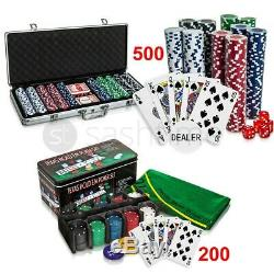 Professional 200/500 Piece Texas Hold'em Poker Casino Game Chips Set In Case New